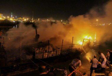 آتش سوزی در یکی دیگر از اسکله های کشور – کنگان